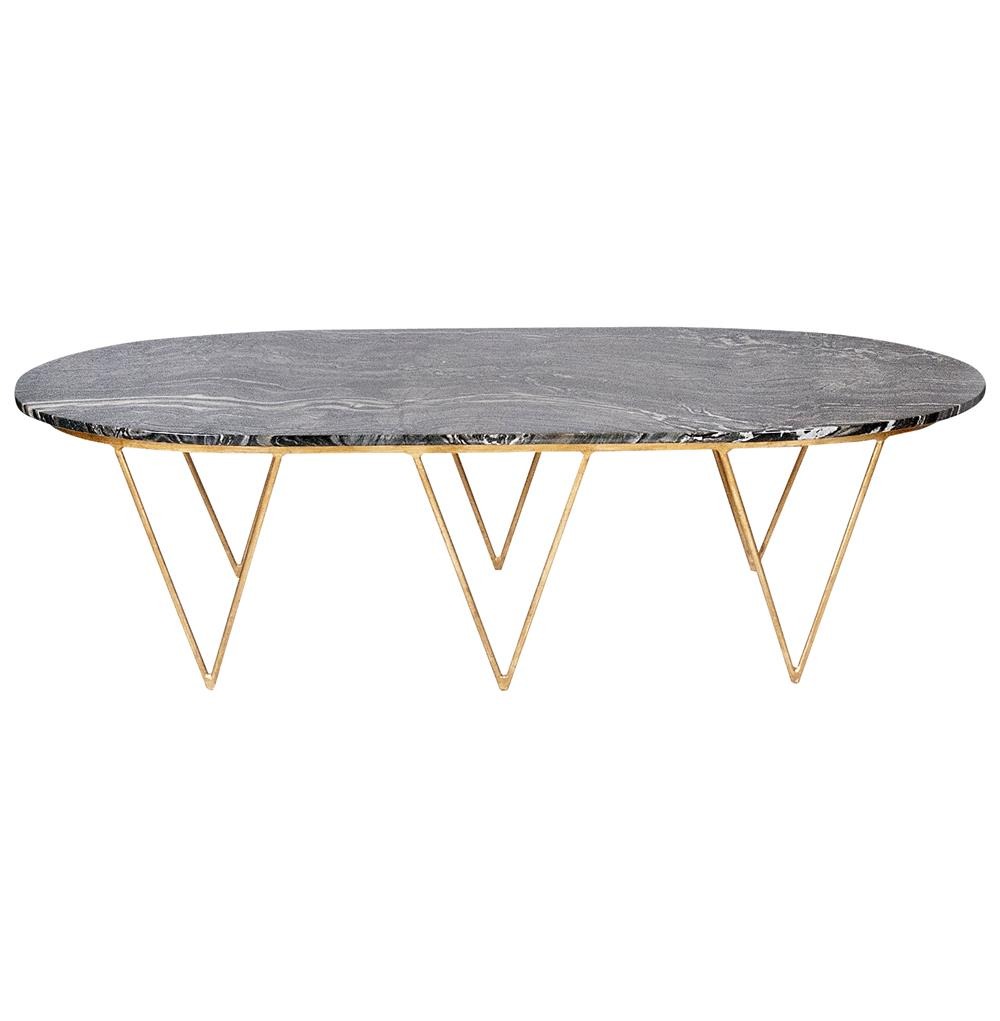 Gold Coffee Table With Stone Top: Elaine Hollywood Regency Gold Black Marble Coffee Table