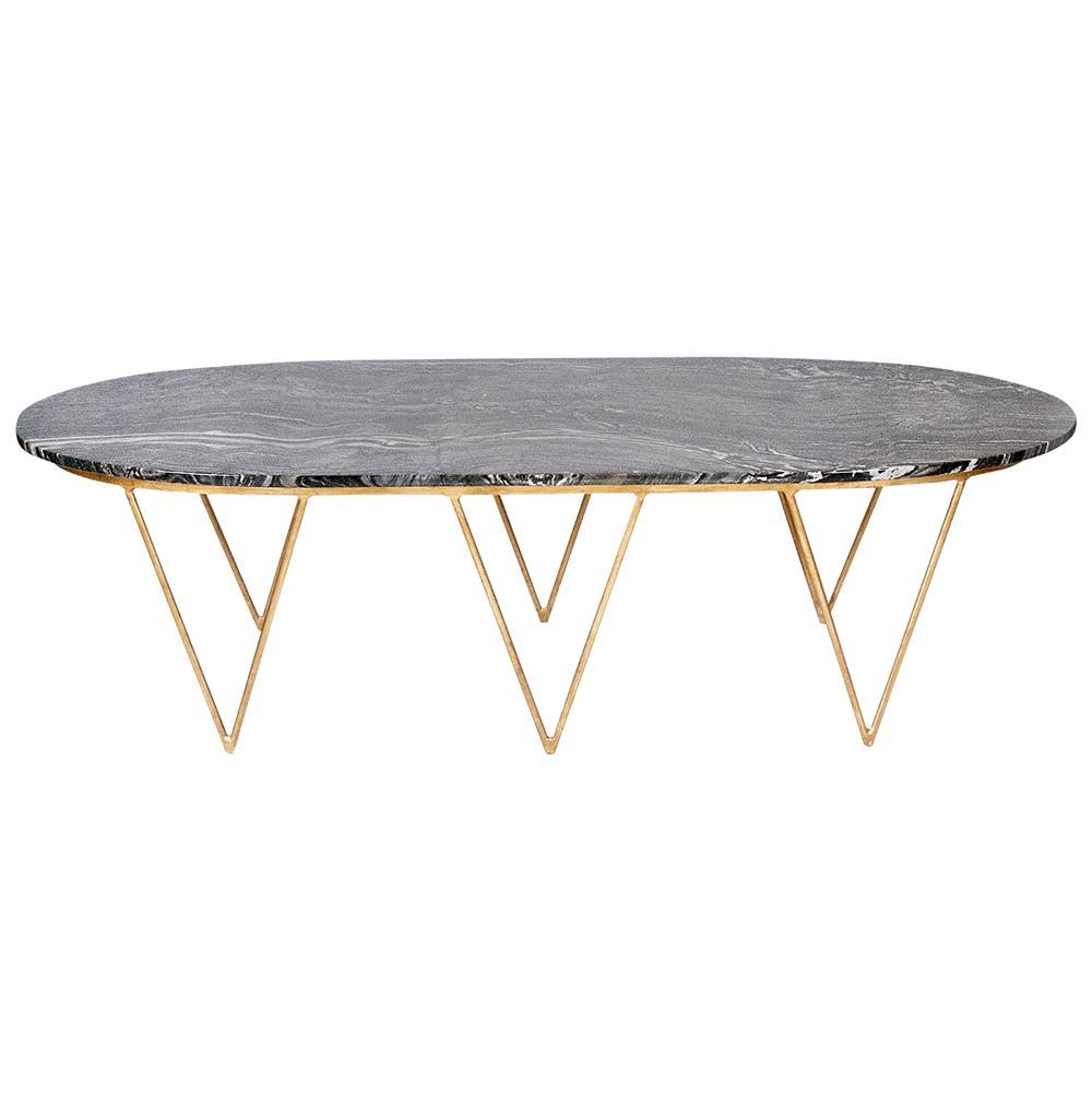 elaine hollywood regency gold black marble coffee table. Black Bedroom Furniture Sets. Home Design Ideas