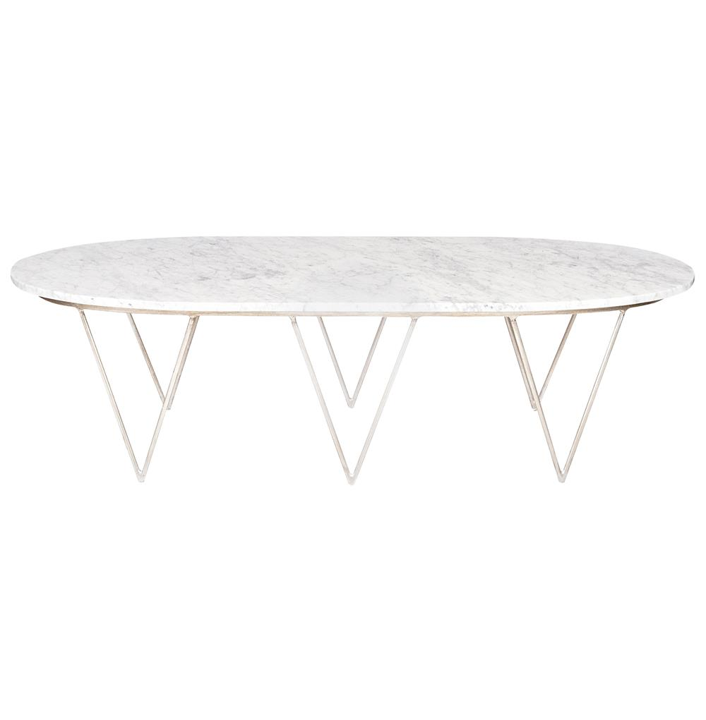 Elaine hollywood regency silver white marble coffee table White marble coffee table