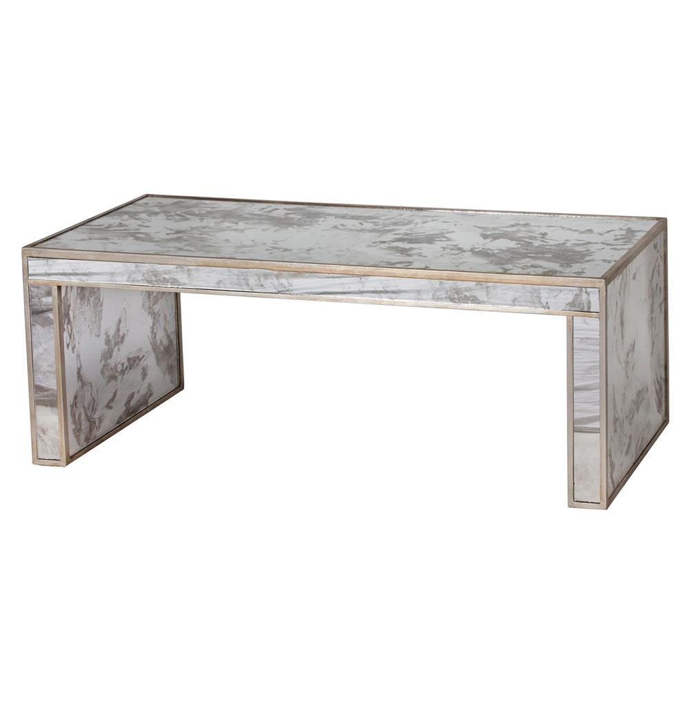 Spencer Hollywood Regency Antique Silver Mirror Coffee Table
