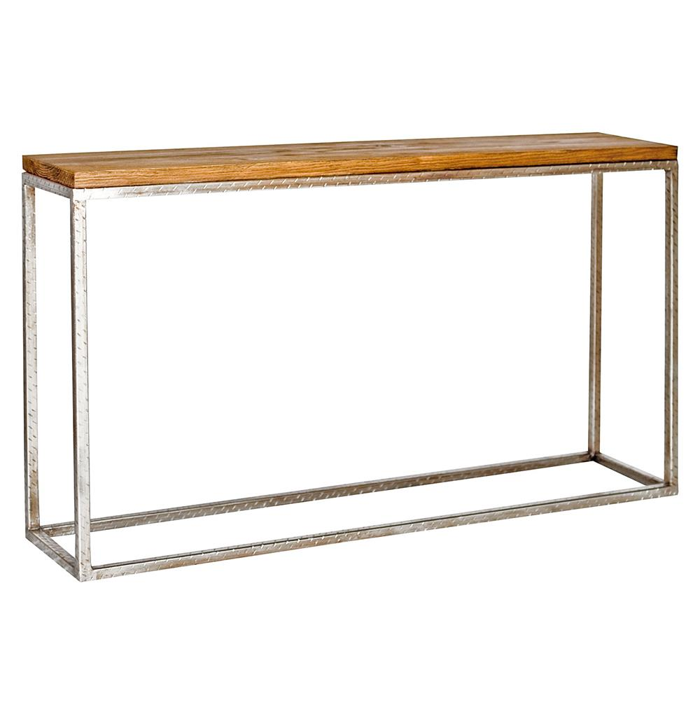 Ozark industrial loft distressed wood silver console table kathy ozark industrial loft distressed wood silver console table kathy kuo home geotapseo Image collections