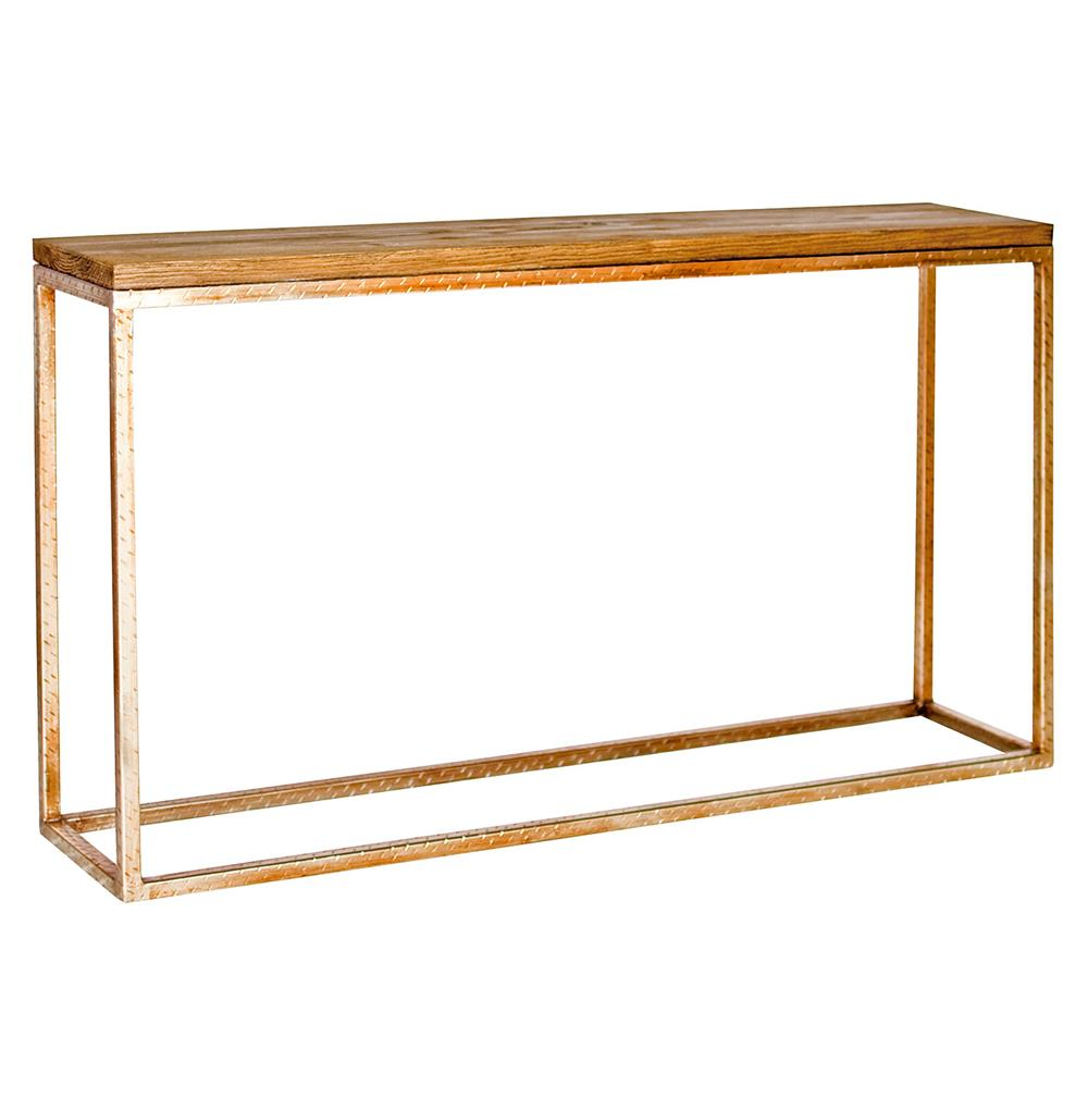 Rollins Industrial Loft Bronze Iron Console Table: Ozark Industrial Loft Distressed Wood Gold Console Table