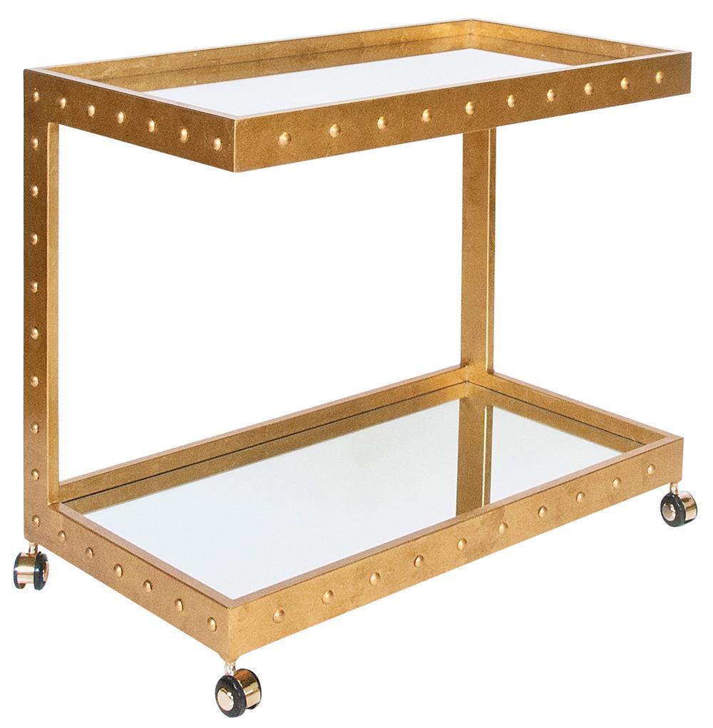 Beaufort Hollywood Regency Gold Leaf Mirror Serving Bar Cart
