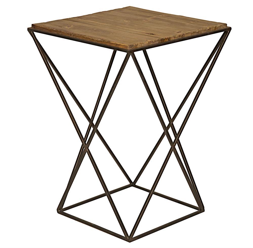 maris industrial loft metal reclaimed wood side end table kathy kuo home. Black Bedroom Furniture Sets. Home Design Ideas