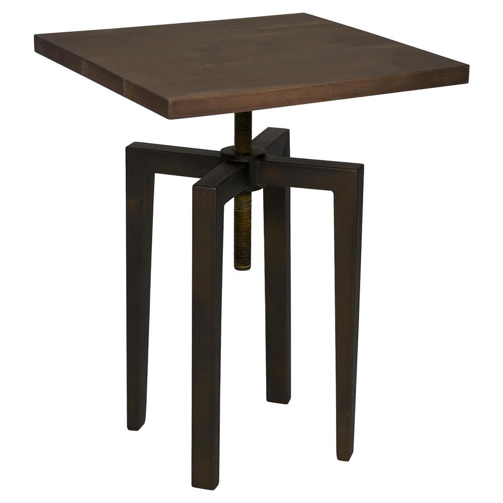 James Industrial Loft Metal Wood Adjustable Height Side