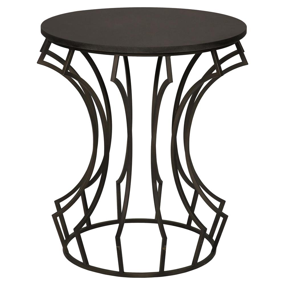 8742 Billy Industrial Loft Metal Stone Side End Table