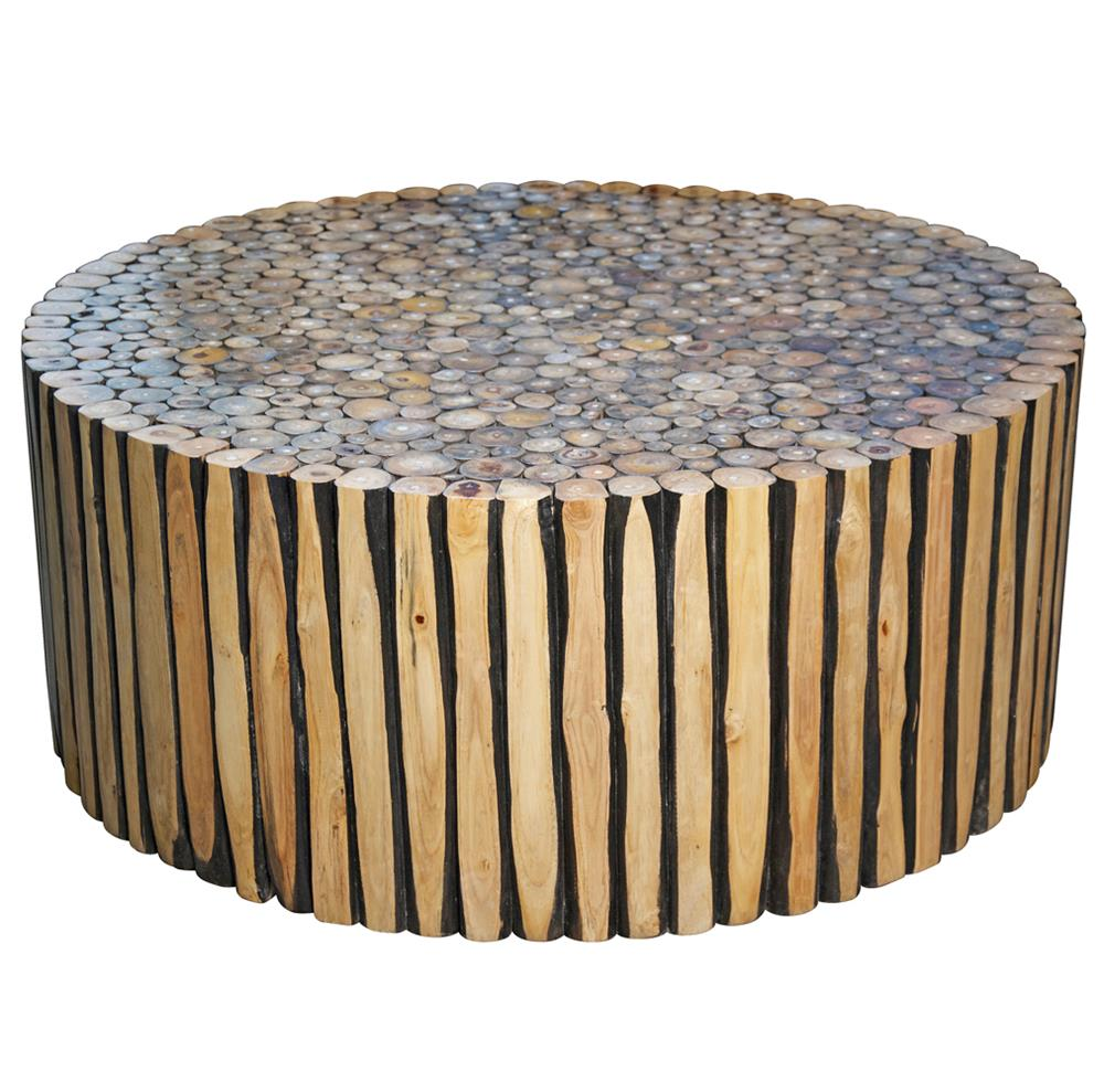 Sawney rustic lodge reclaimed wood round coffee table kathy kuo home geotapseo Images