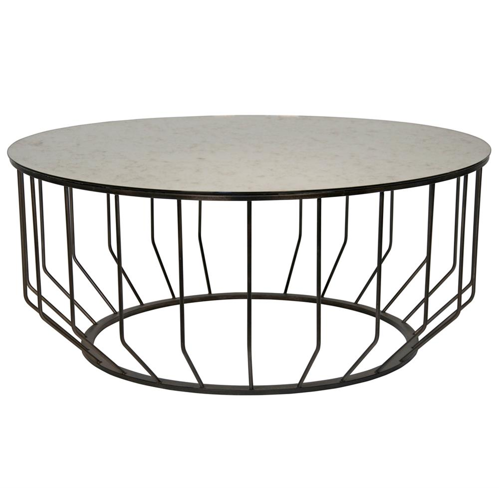 Sandford industrial loft antique glass metal round coffee table kathy kuo home Metal and glass coffee table