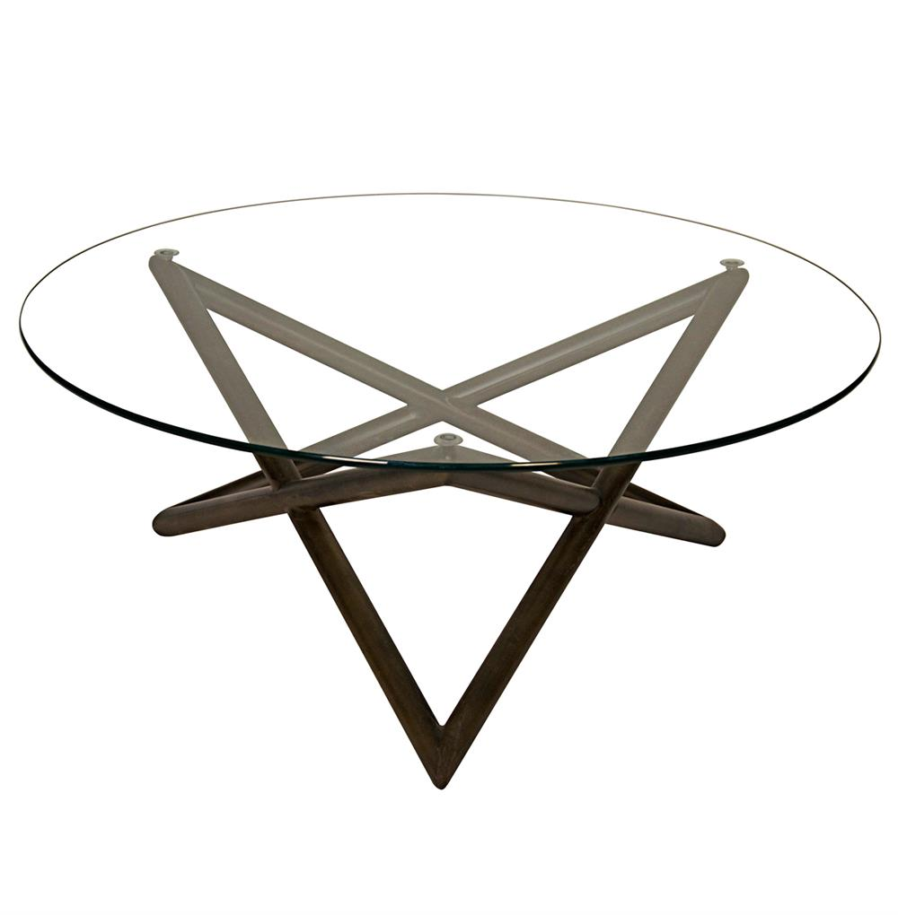 Seton industrial loft modern glass metal round coffee table kathy kuo home Metal and glass coffee table