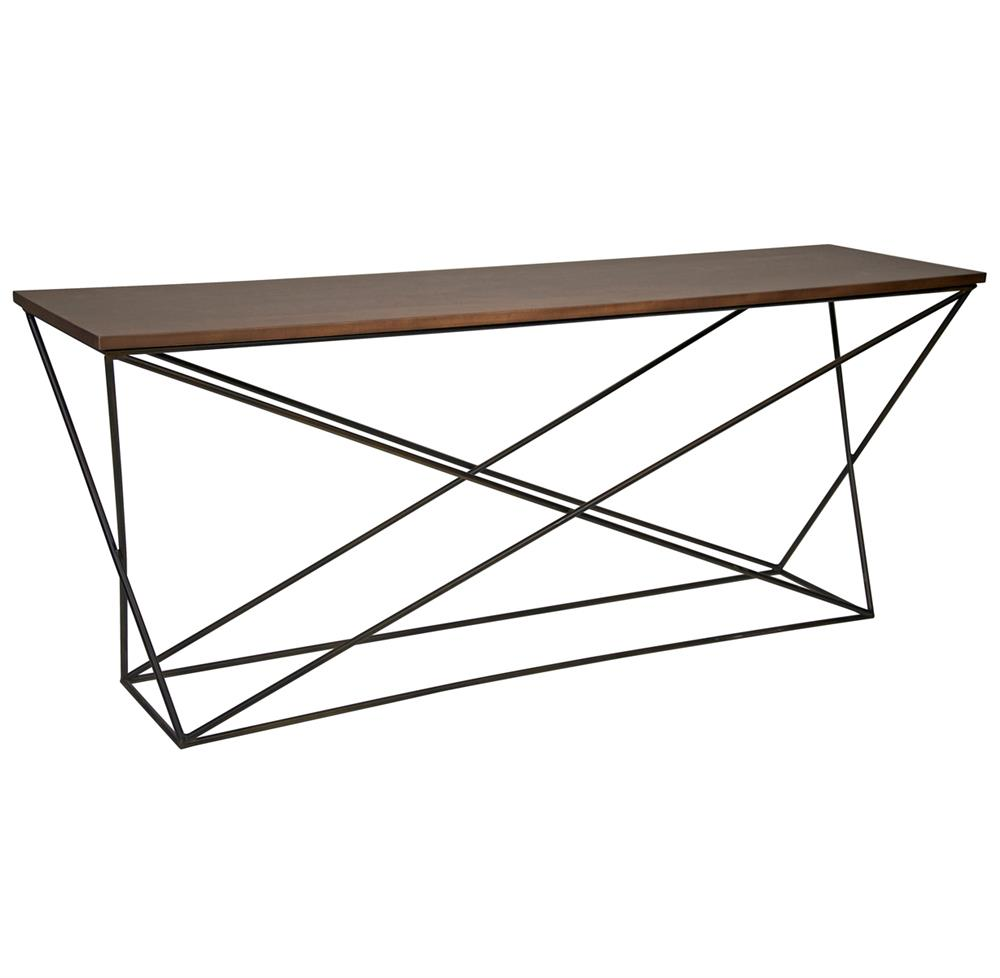 Madden industrial loft x base wood metal console table for Metal and wood console tables