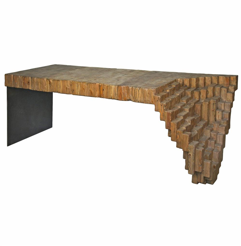 Lassi global bazaar sculptural reclaimed wood metal desk