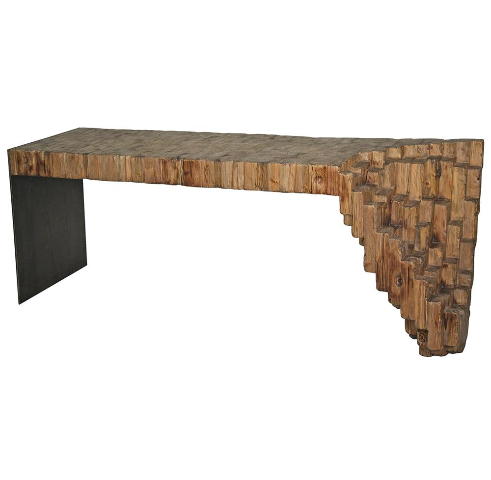 Wood And Metal Console Part - 20: Lassi Global Bazaar Sculptural Reclaimed Wood Metal Console Table | Kathy  Kuo Home