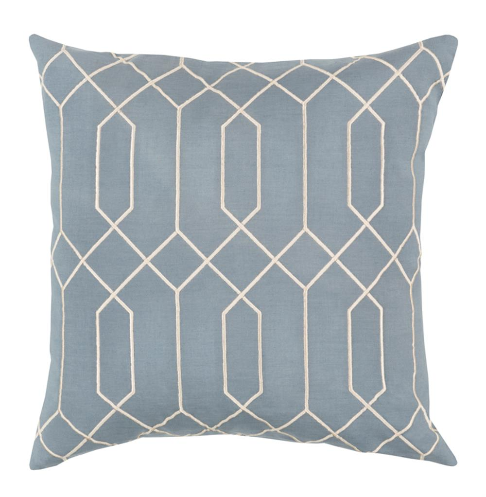 Kylie Hollywood Regency Linen Down Light Blue Pillow - 18x18 Kathy Kuo Home