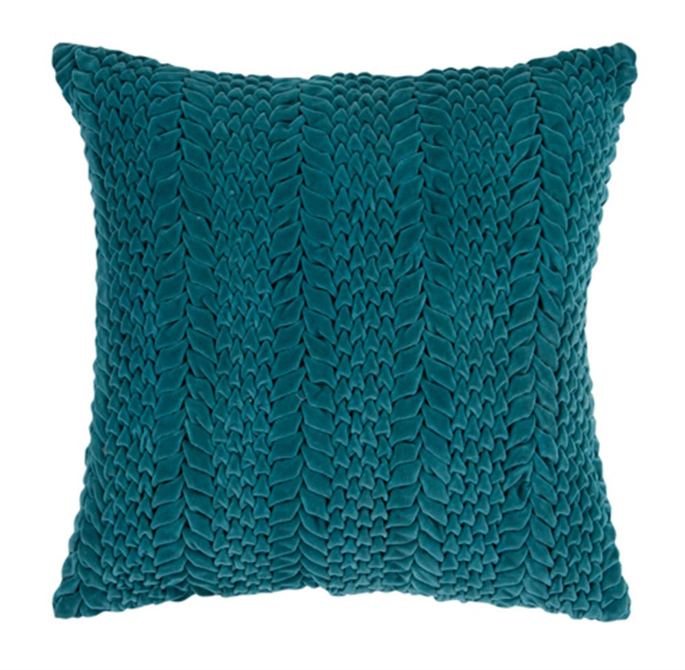 Edie Hollywood Regency Cotton Velvet Down Teal Pillow 18x18