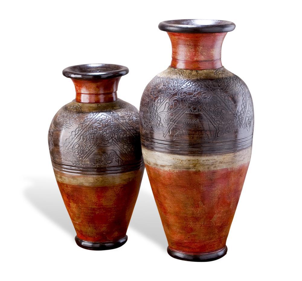 Set Of 2 Southwestern Global Rustic Large Decorative Vases Kathy Kuo Home