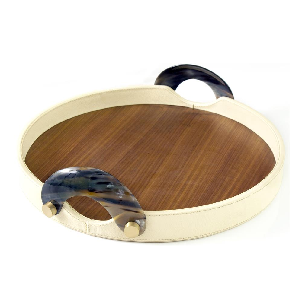 Falconi Modern Horn Wood Leather Round Serving Tray