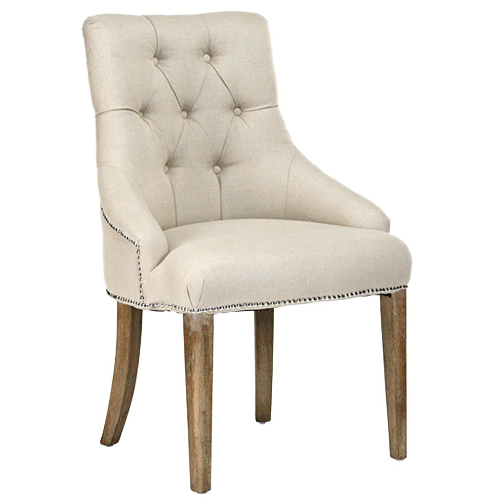 Anneau Natural Linen Tufted Nail Head Vanity Dining Chair