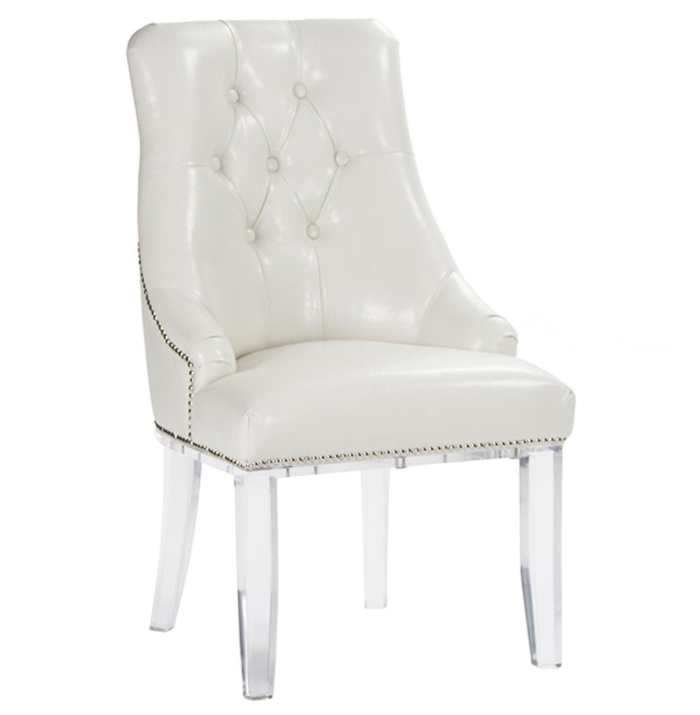 Anneau Faux Leather Acrylic Tufted Nail Head Dining Chair