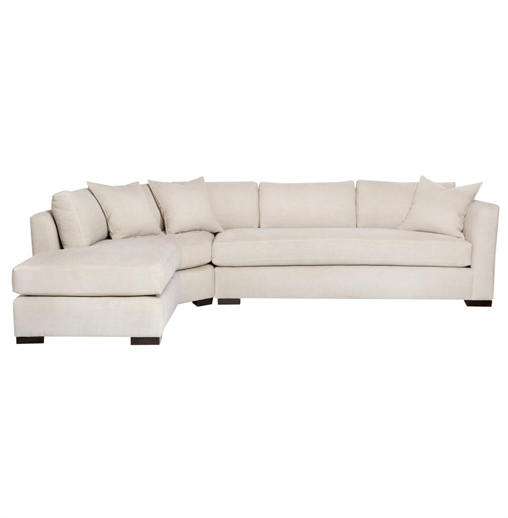 adair ivory linen 2 piece sectional down sofa left arm facing 127x92 kathy kuo home. Black Bedroom Furniture Sets. Home Design Ideas