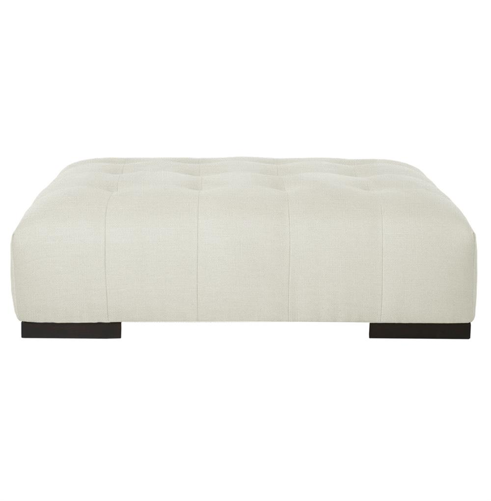 Cisco Brothers Arden Modern Classic Tufted White Linen Rectangle Coffee Table Ottoman Kathy
