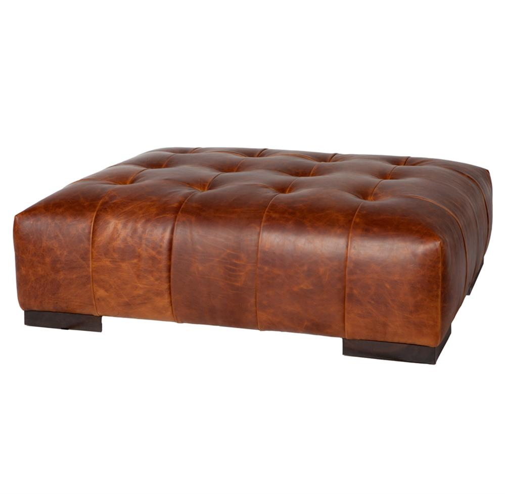 Cisco Brothers Arden Modern Classic Tufted Terracotta Leather Rectangle Coffee Table Ottoman