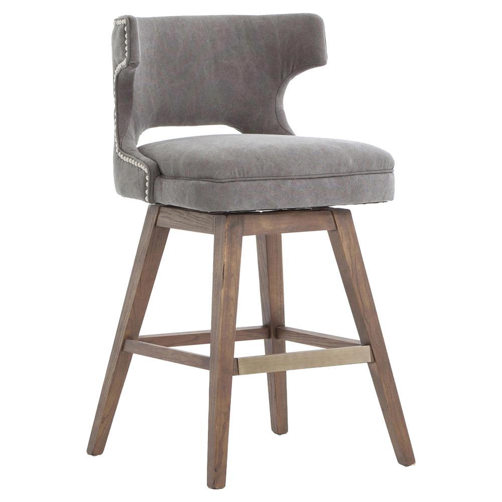 Liana Modern Upholstered Grey Canvas Wing Back Swivel Seat