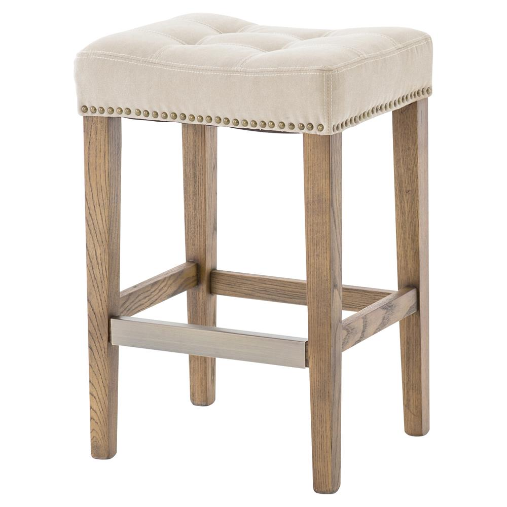 Milton Modern Beige Canvas Tufted Nailhead Counter Stool