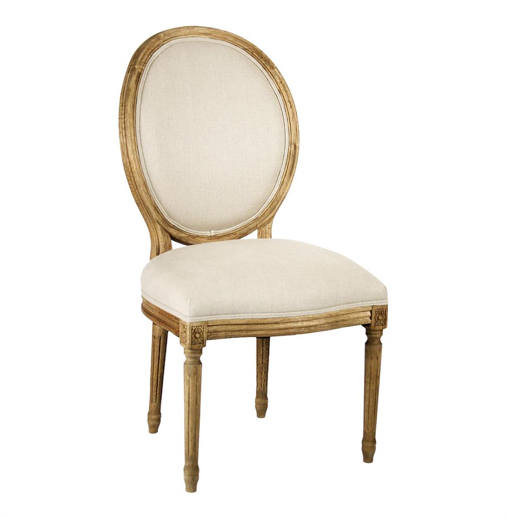 Pair Madeleine French Country Natural Linen Oval Back Dining Chair