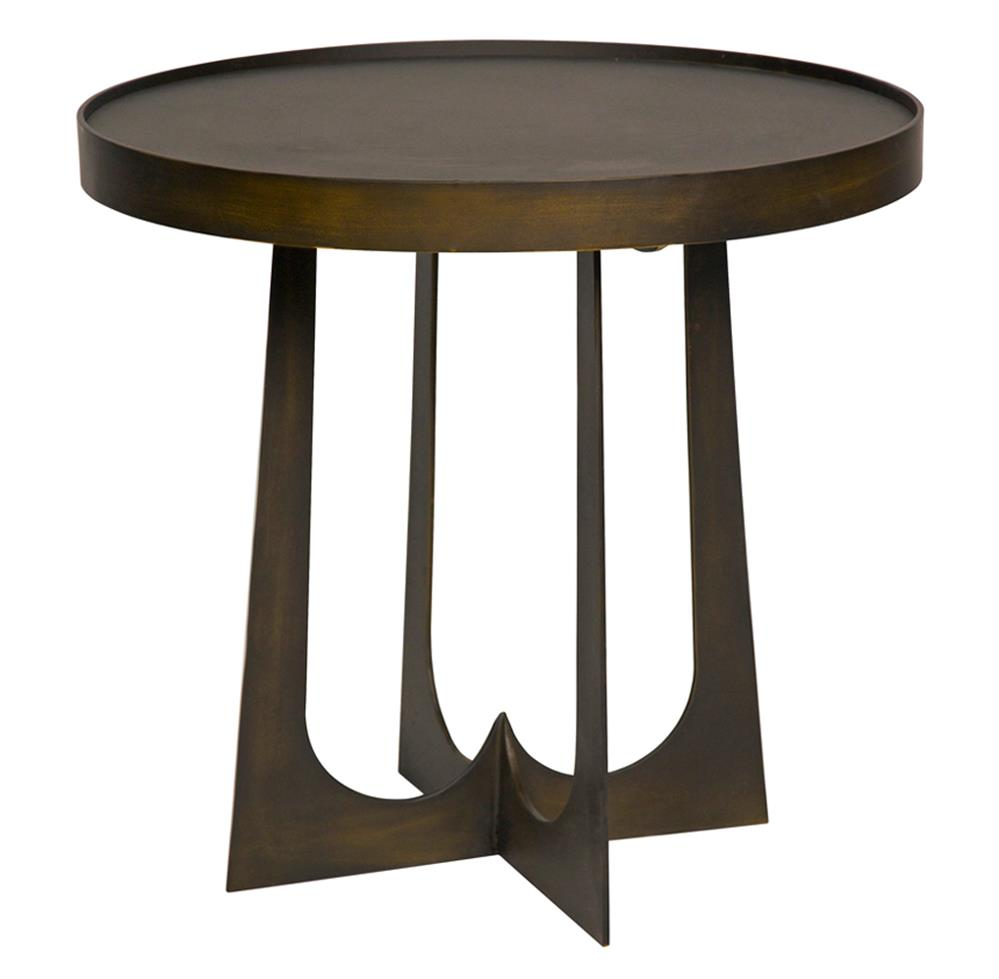 9483 Devlin Industrial Loft Round Metal Stone Side End Table