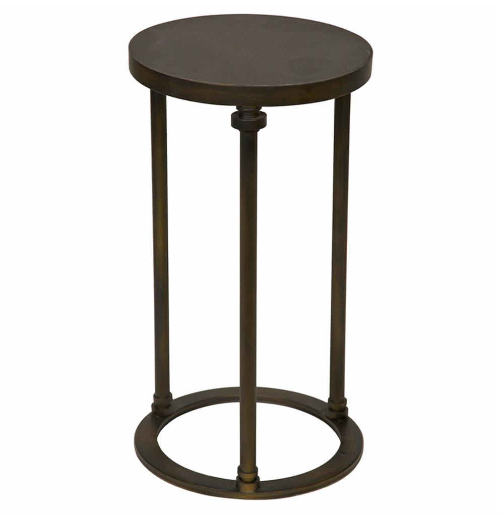 Metal End Tables ~ Samson industrial loft metal stone round side end table