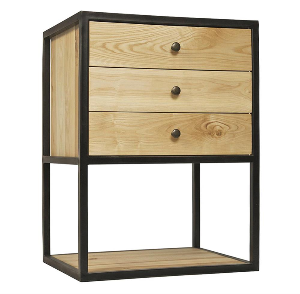 Reilly Industrial Loft 3 Drawer Elm Metal Nightstand