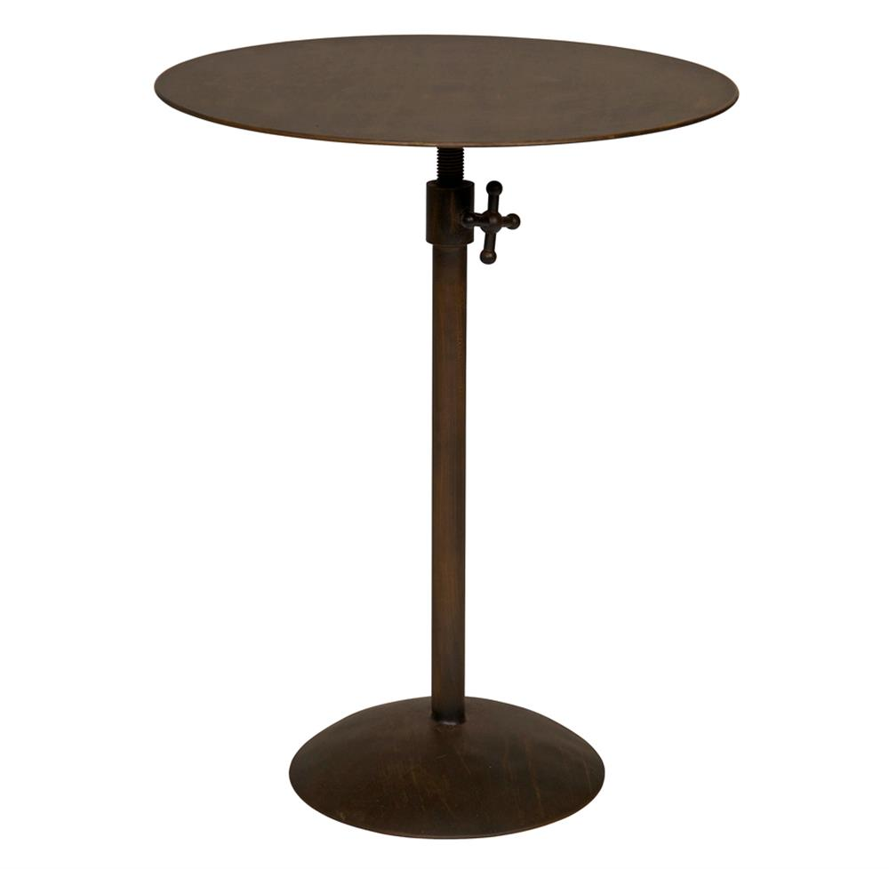 Wood And Metal Uriah Adjustable Accent Table: Callan Industrial Loft Round Adjustable Metal Side End