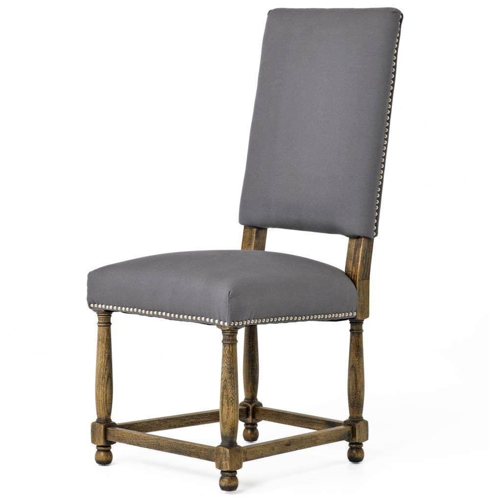 High Dining Room Chairs: Charles French Country Grey Linen High Back Dining Room