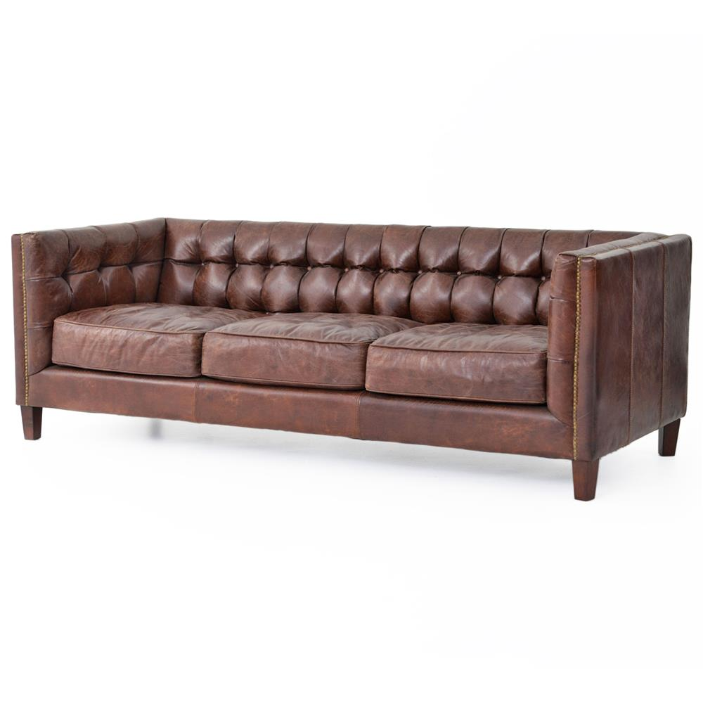 Christopher Rustic Lodge Tufted Straight Back Brown Leather Sofa Kathy Kuo Home