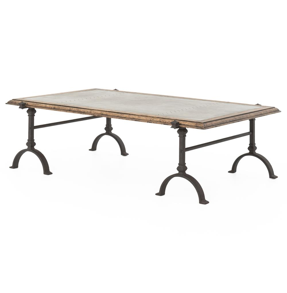 Beziers French Industrial Galvanized Steel Iron Coffee Table Kathy Kuo Home