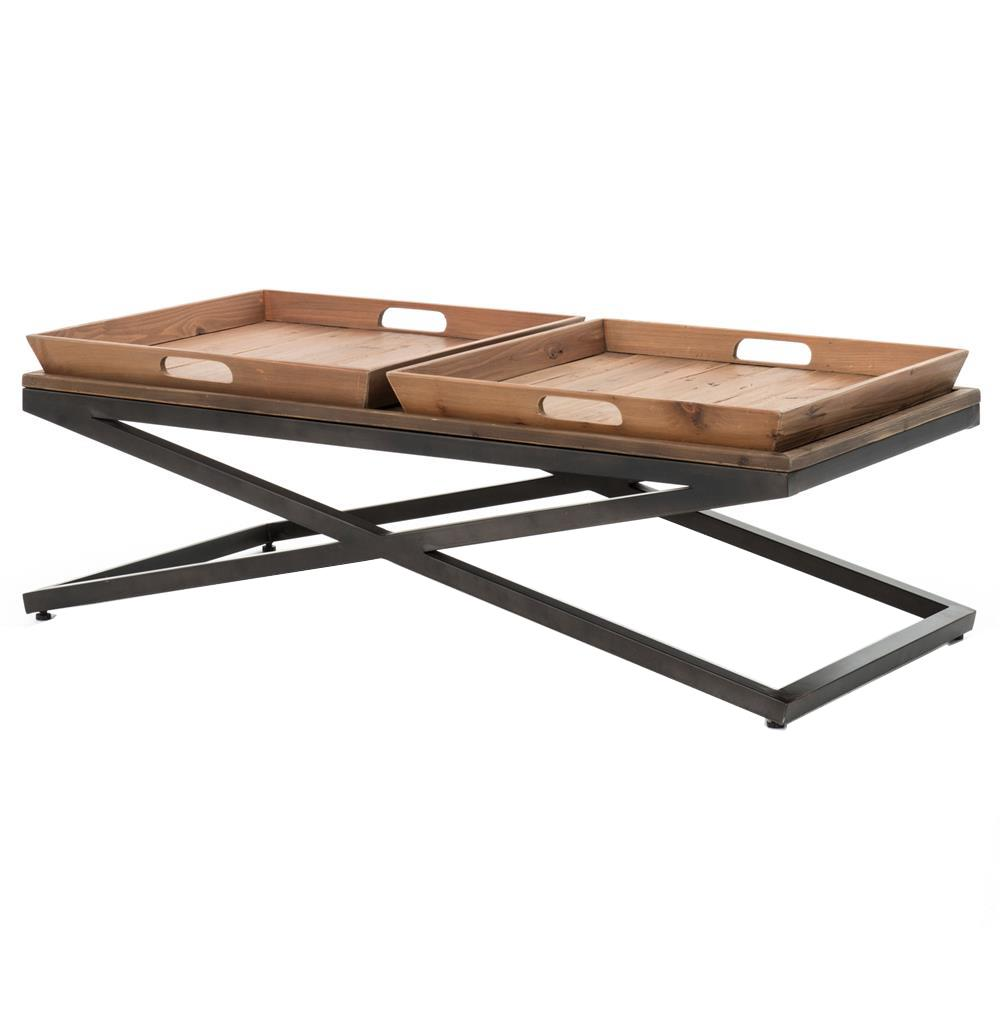 Jaxon double tray top wood iron industrial rectangle for Best wood for coffee table