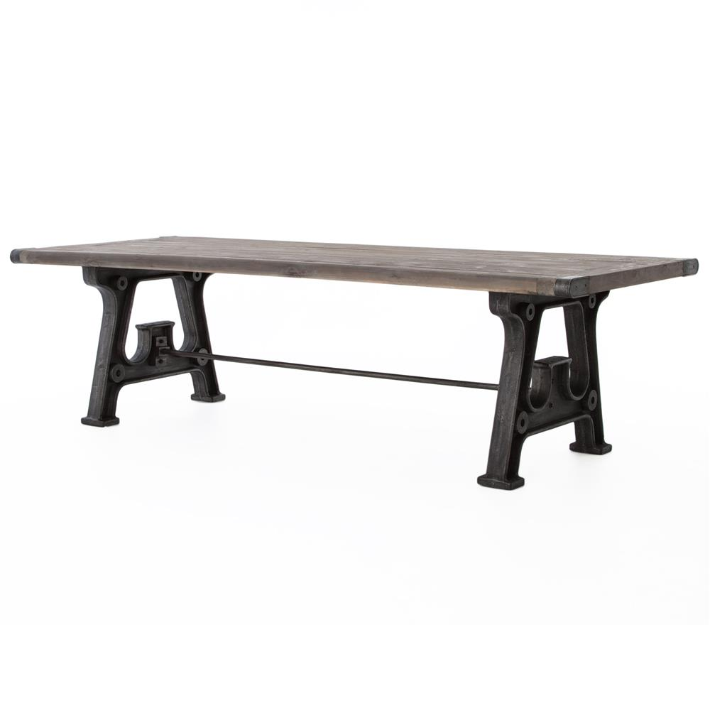 Boone industrial reclaimed grey wood cast iron 86 dining for Iron dining table