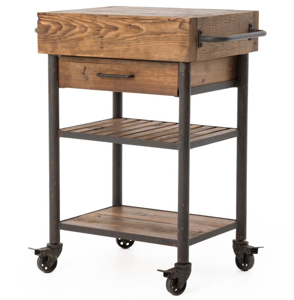 Kershaw Rustic Chunky Reclaimed Wood Iron Single Drawer Kitchen Island Cart