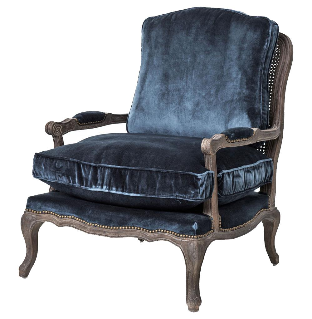 Sasha Blue Velvet French Style Oak Accent Bergere Armchair Kathy Kuo Home