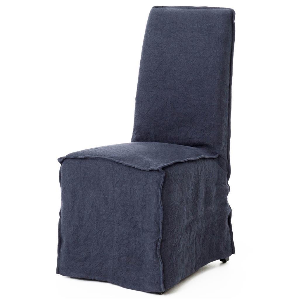 Lena Modern Classic Navy Blue Wrinkle Linen Slipcover Dining Chair PAIR K