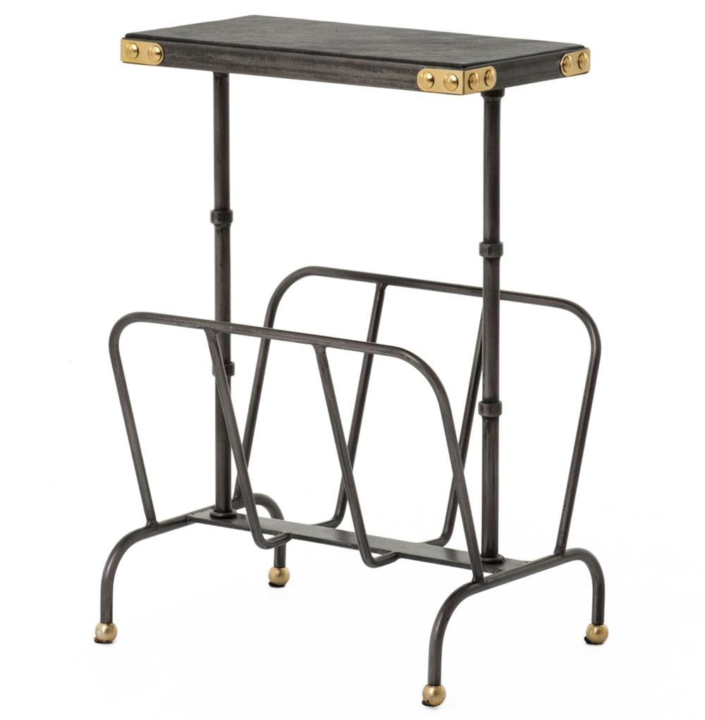 Hobart Iron Waxed Black Industrial Loft Magazine Rack Side Table