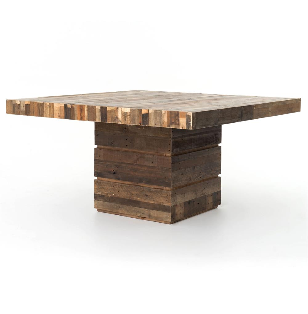Hunter rustic lodge chunky reclaimed wood square dining for Restaurant tables