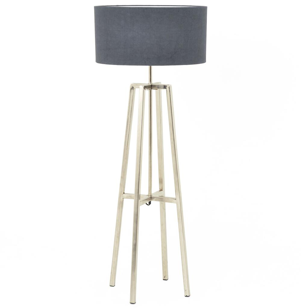 Melrose modern classic silver nickel grey shade floor lamp kathy melrose modern classic silver nickel grey shade floor lamp kathy kuo home aloadofball Images