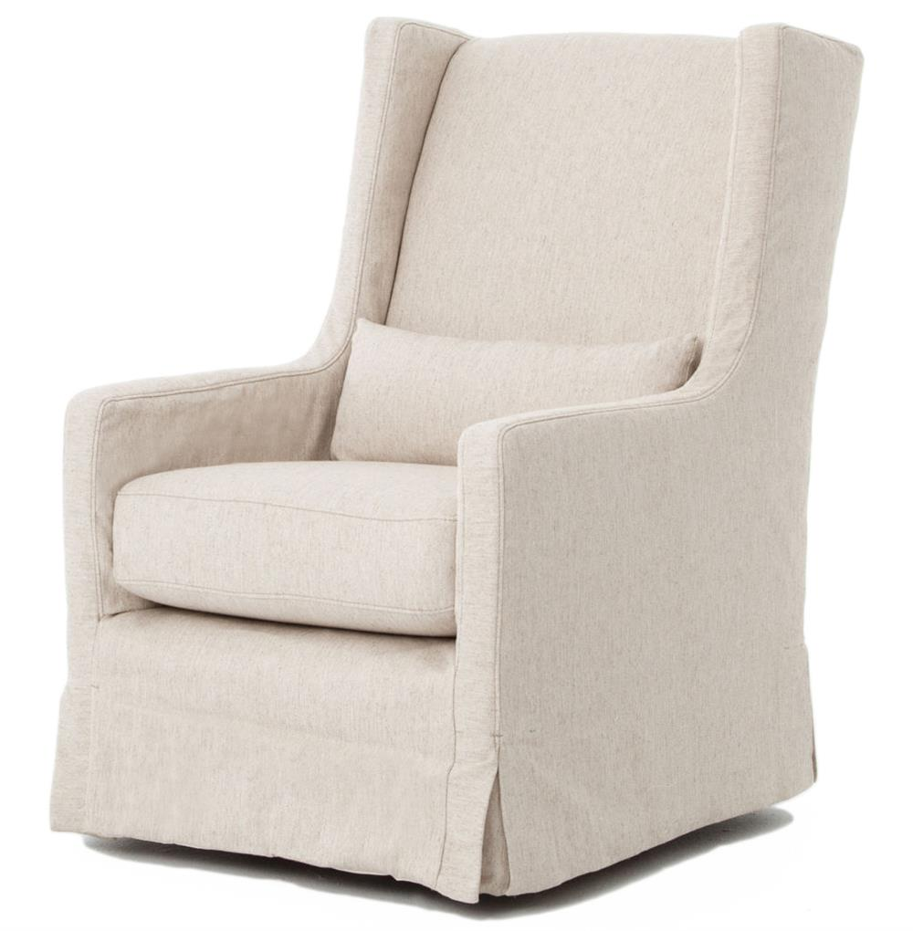 Wilshire Modern Classic Slipcover Cream Linen Swivel Arm