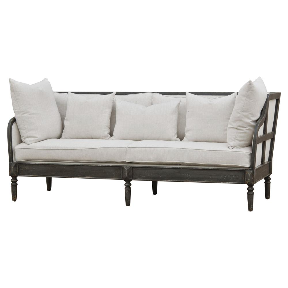 Henrietta french country solid walnut natural linen sofa kathy kuo home - French country sectional sofas ...