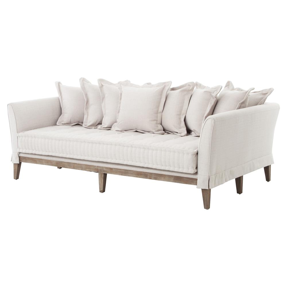 dedon french country coastal style light sand sofa kathy kuo home rh kathykuohome com Country Floral Sofas Country Cottage Sofa