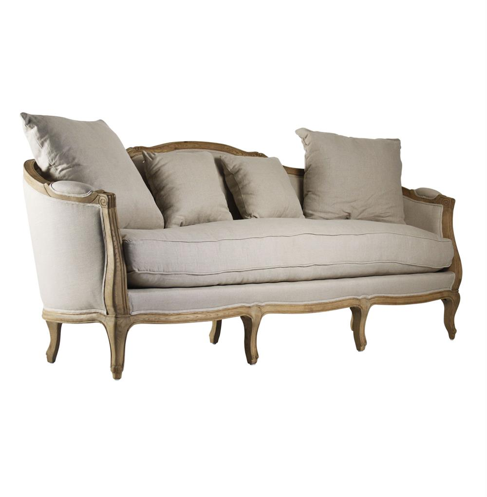 Rue du bac french country linen feather down sofa kathy for French divan chair