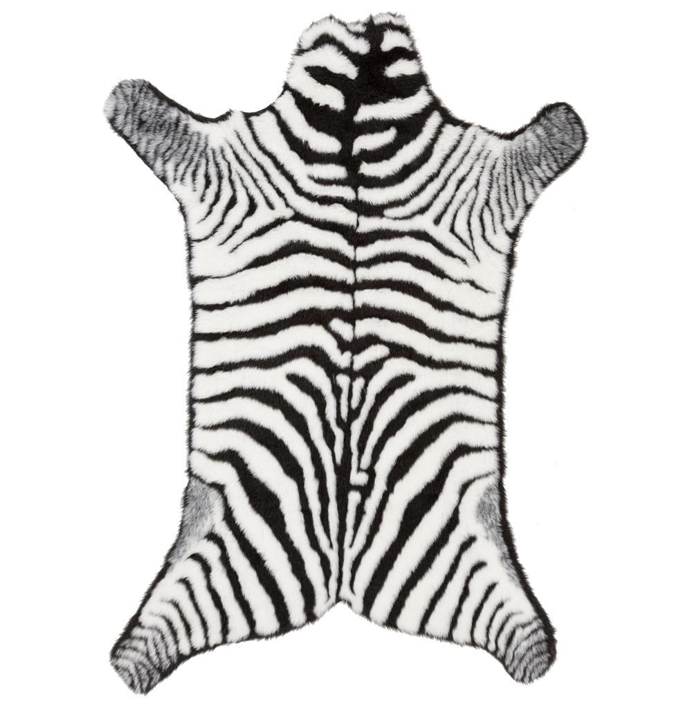 Zebra Rug Faux: Faux Zebra Fur Global Bazaar Black White Striped Rug