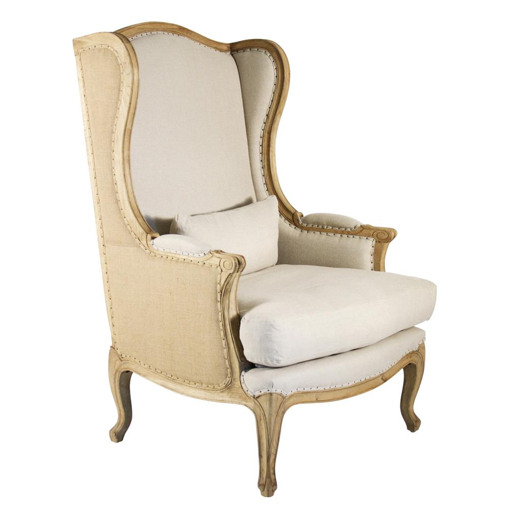 Leon french country high back linen wing chair kathy kuo for Living room chairs