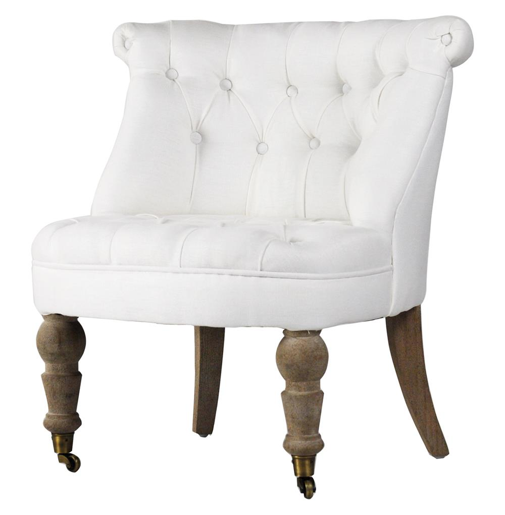 Amelie French White Linen Tufted Accent Chair Kathy Kuo Home